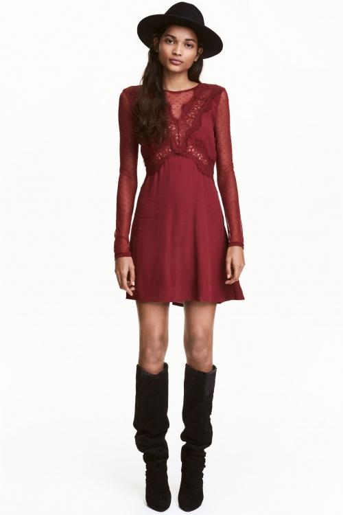 H&M - Robe rouge foncé