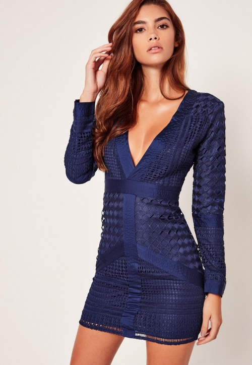 Missguided - Robe moulante bleu marine