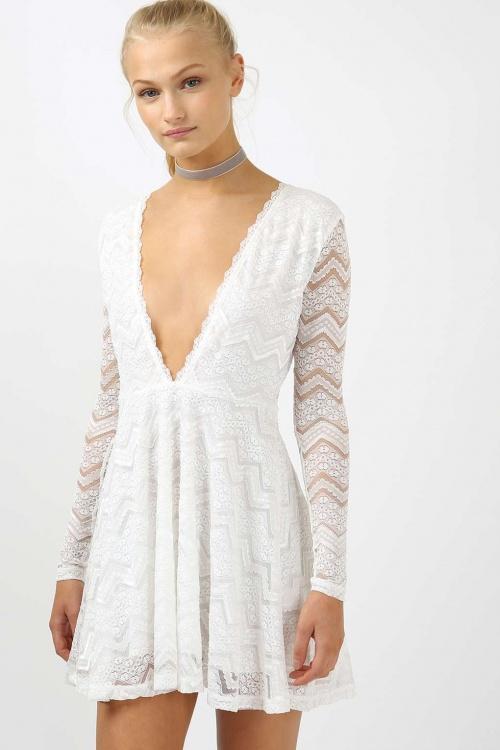Topshop - Robe plongeante blanche