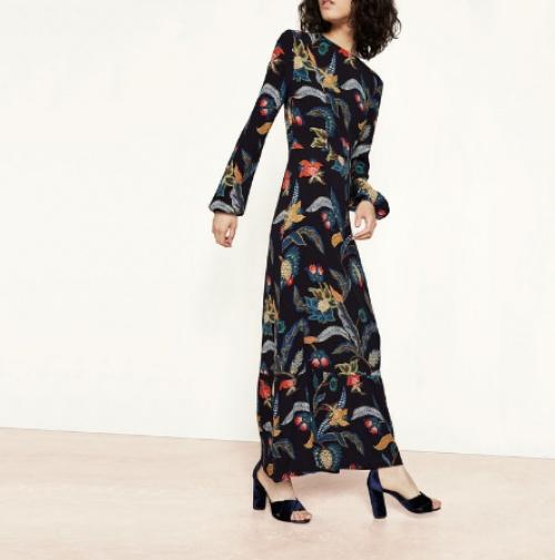 Robe longue à imprimé baroque