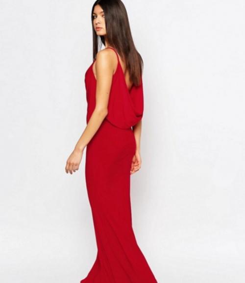 Club L - Maxi robe drapée sur le devant avec ourlet en pointe à l'arrière