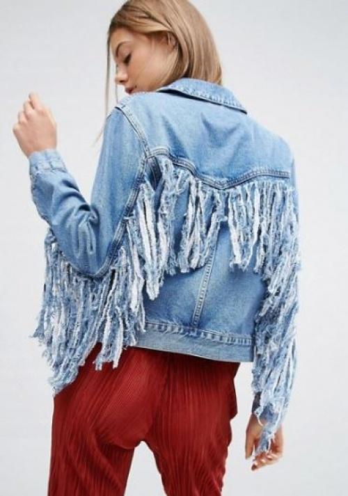 Asos - veste en jean à franges