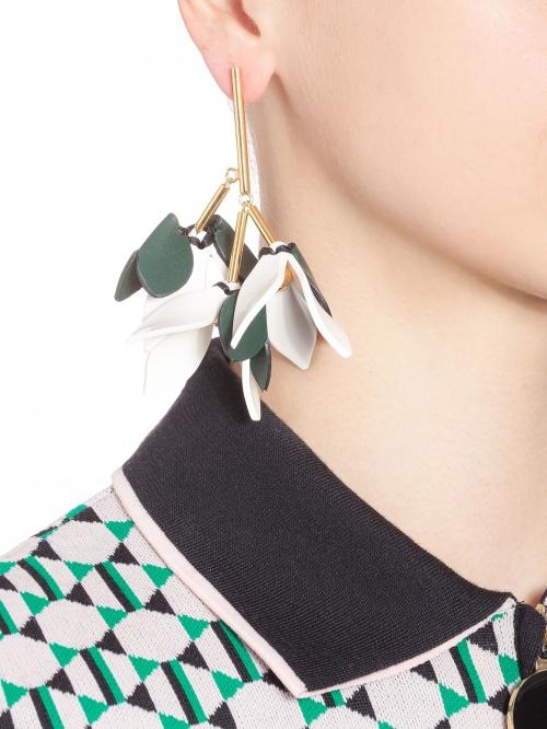 Marni - boucles d'oreilles fleurs en cuir
