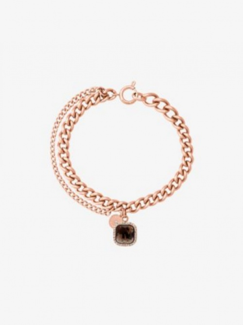 Bracelet doré avec breloque en quartz fumé