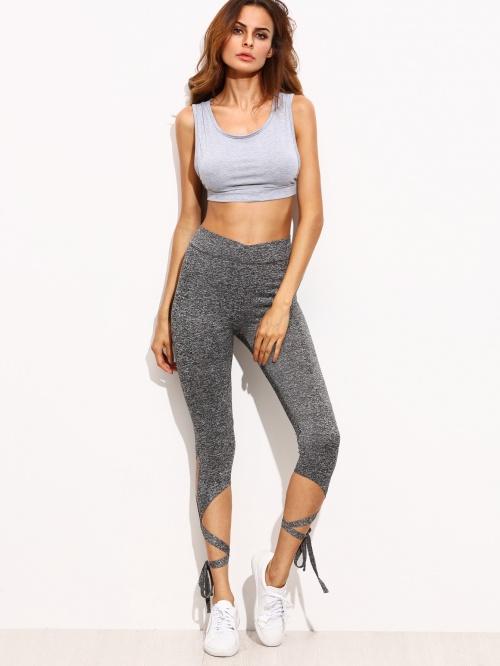 legging gris lacets