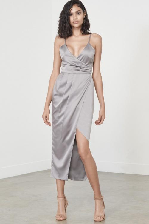 Silver Satin Wrap Long Midi Dress