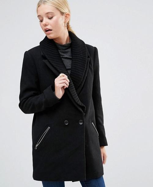 Manteau avec col côtelé et fermeture éclair