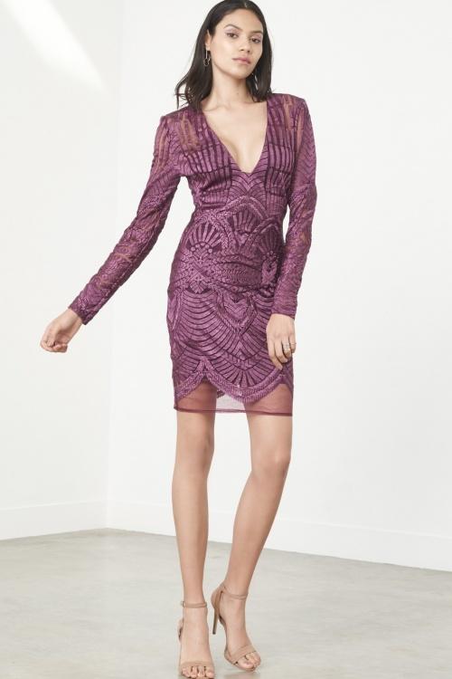 Premium Purple Embroidered Mesh Deep Plunge Mini Dress