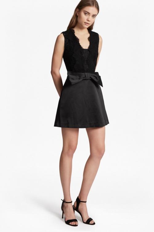 JULIET SATIN BOW FRONT DRESS