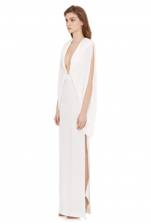 KARO DEEP PLUNGE FRONT MAXI DRESS CREAM WHITE