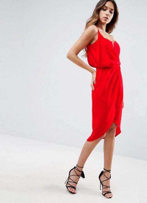 Asos  robe rouge asymétrique