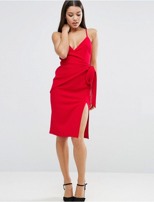 Asos robe rouge fine bretelle