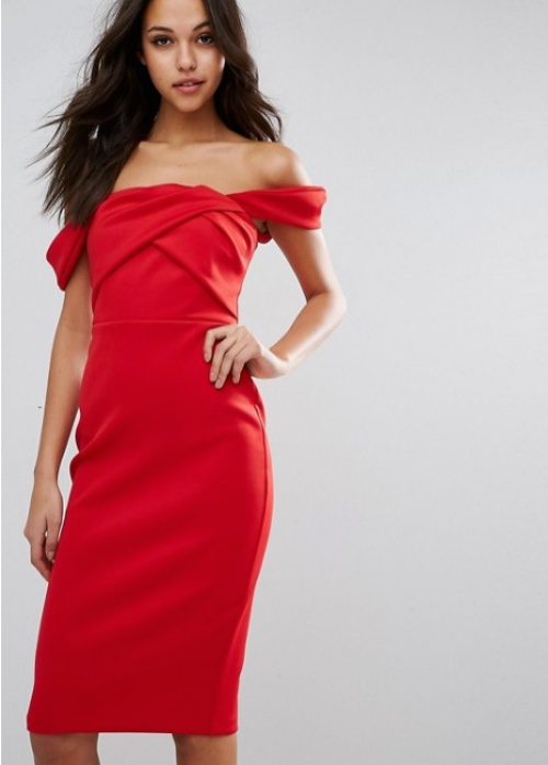 Asos  robe rouge épaules dénudées