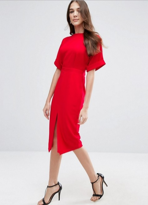 Asos  robe rouge manches courtes