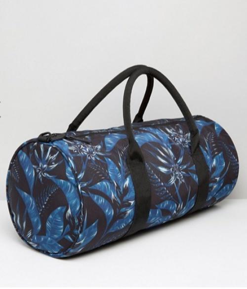 sac bleu  fleurs