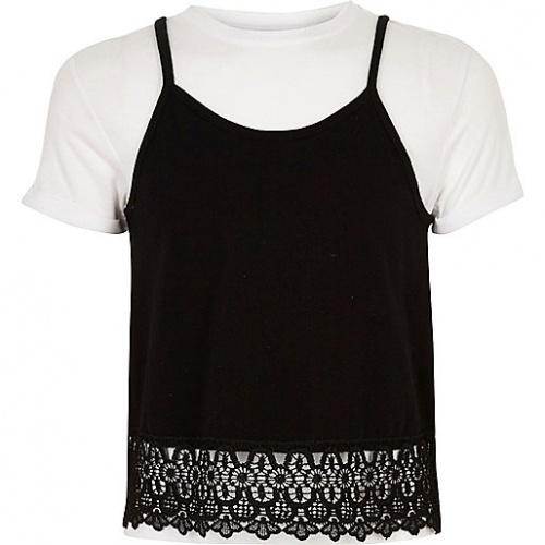 T-shirt blanc avec caraco pour fille