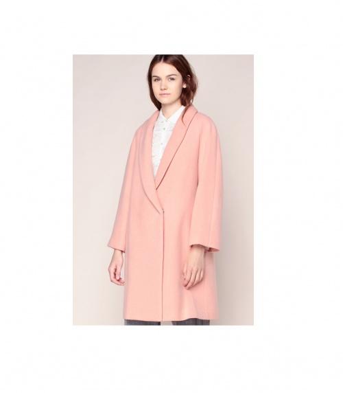 Manteau long rose col tailleur