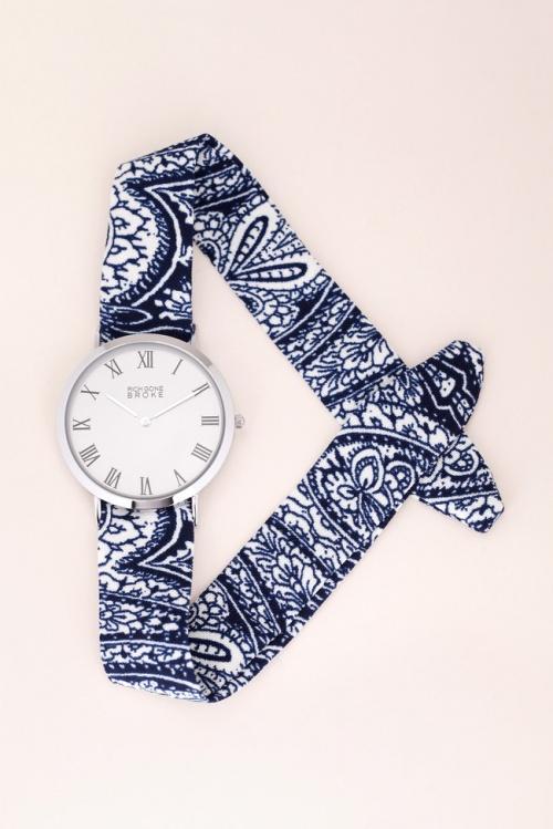 Montre boitier argenté bracelet tissu Marcel Byzance