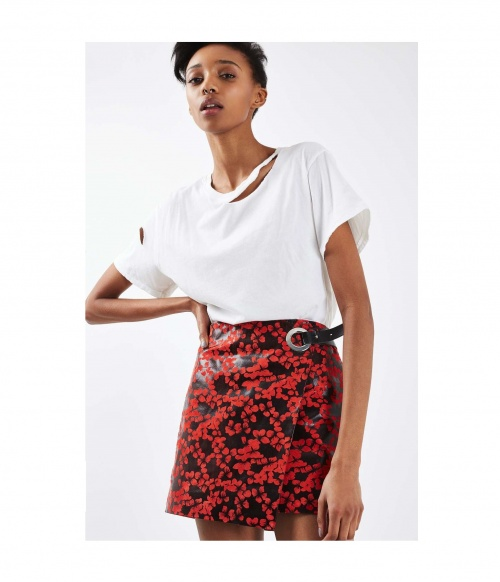 Red Blossom Eyelet Leather Skirt