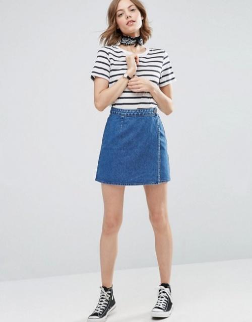 Jupe portefeuille en jean - Bleu délavé moyen
