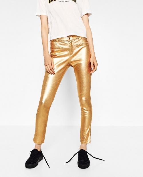 Zara - Pantalon - Or