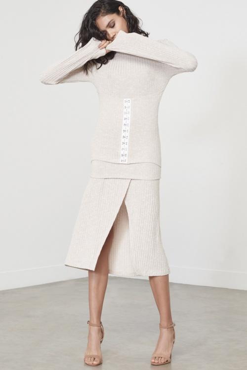 Oatmeal Marl Rib Knit Wrap A-Line Midi Skirt
