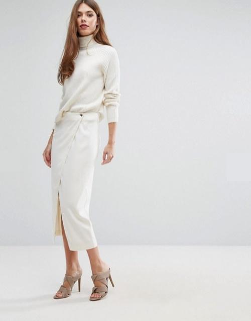 White Tailor - Jupe mi-longue drapée sur le devant