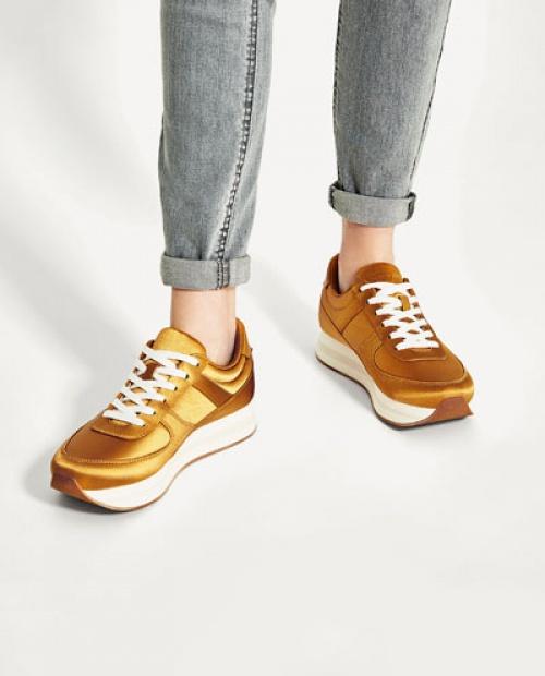 Zara - baskets plateforme satin doré