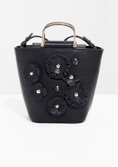 Flower Leather Bucket Bag