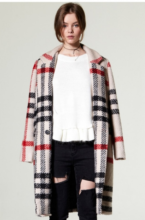 Mia oversize plaid woolen coat