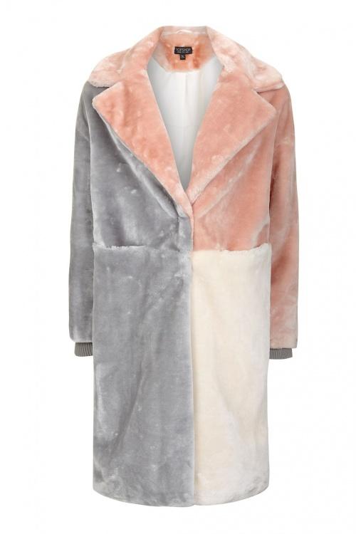 Manteau en fourrure synthétique façon patchwork