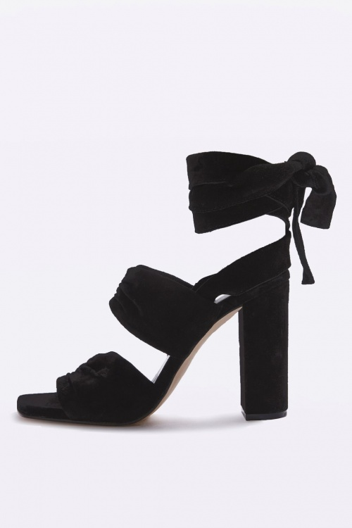 Topshop sandales noires velours