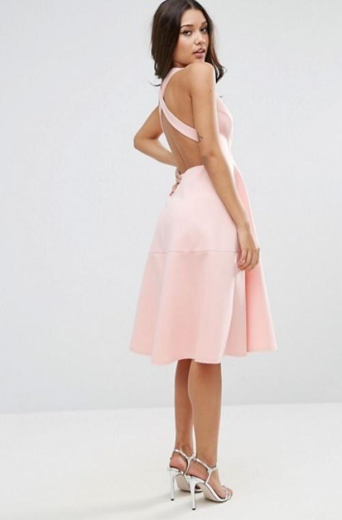 Asos robe dos nu croisé rose