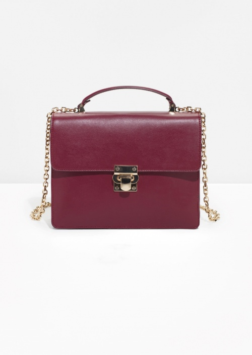 Top Handle Leather Bag Burgundy
