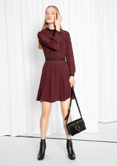 Waisted Dress Wine Red