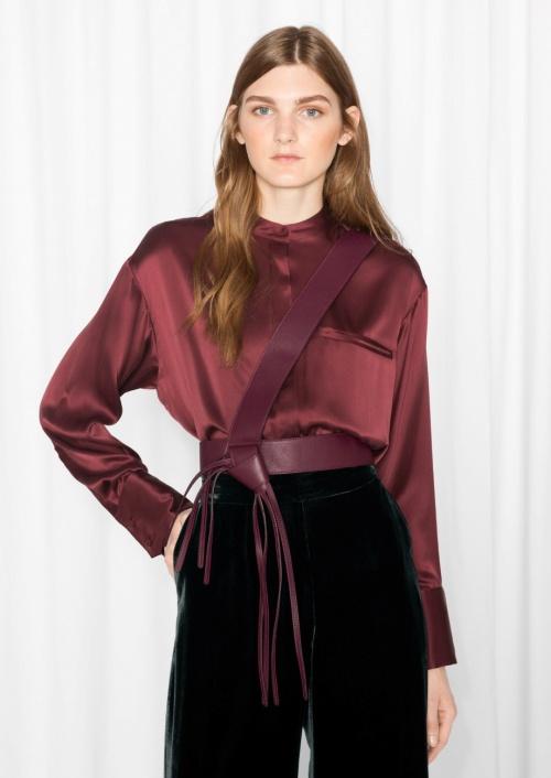 Zana Bayne One Shoulder Leather Harness Burgundy