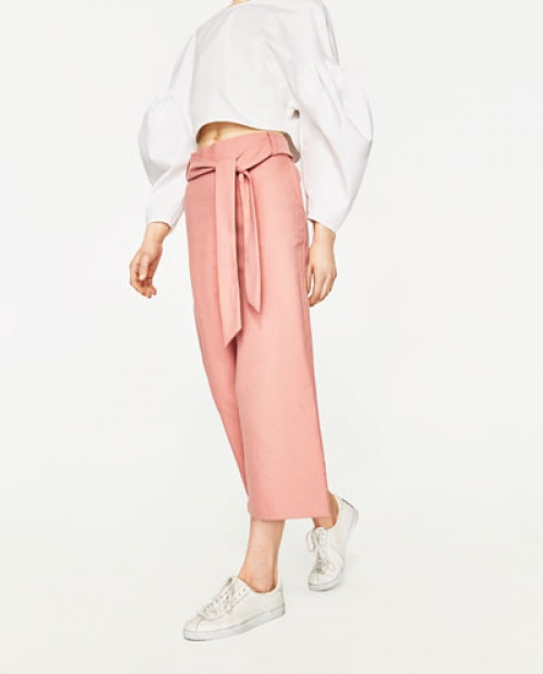 Zara - Pantalon rose pale