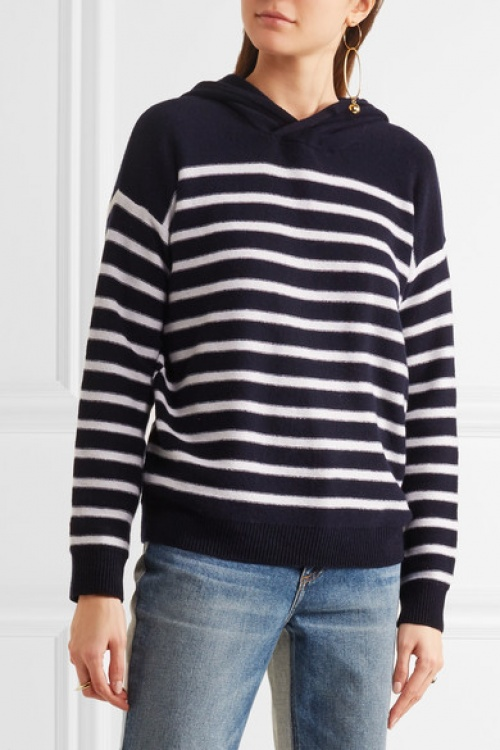 Hooded striped cashmere sweater