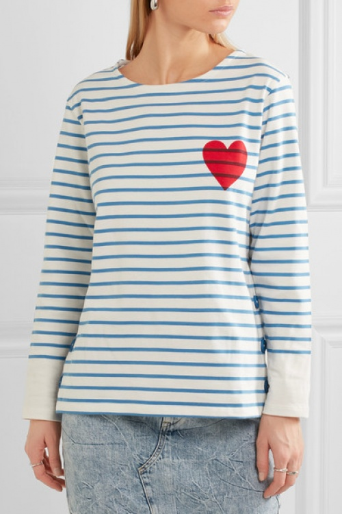 Printed striped cotton-jersey top