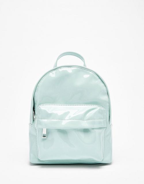 Bershka - sac à dos vinyle bleu