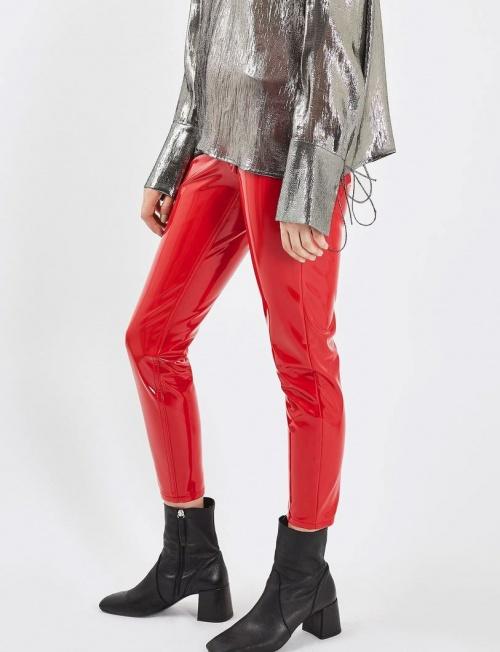 Topshop - pantalon vinyle rouge