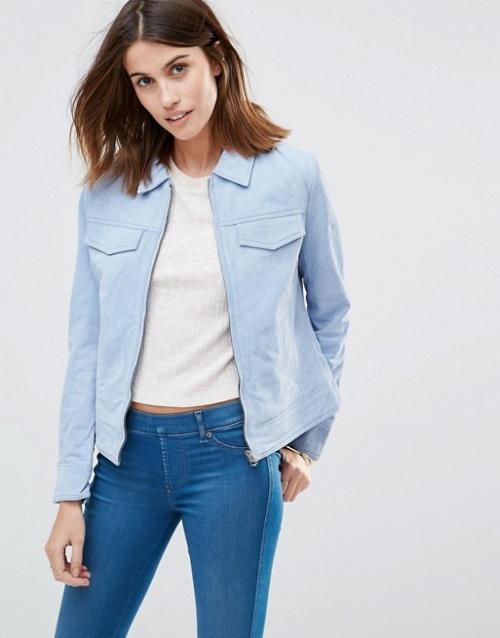 pepe jeans veste en cuir bleue