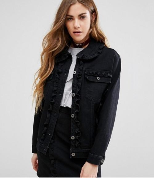 Reclaimed vintage veste jean froufrou