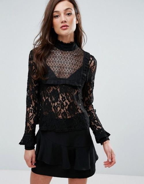 Fashion Union - Top noir dentelle