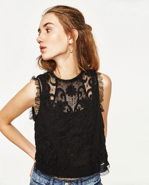 Zara - top noir dentelles
