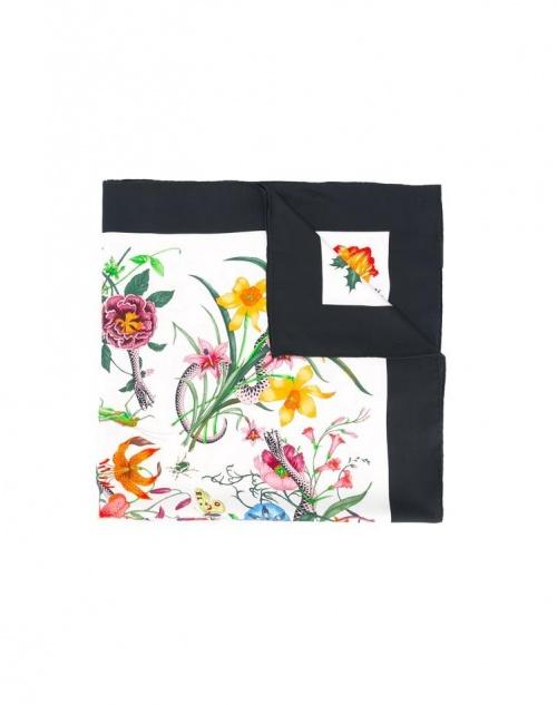 Gucci - foulard en soie fleurie