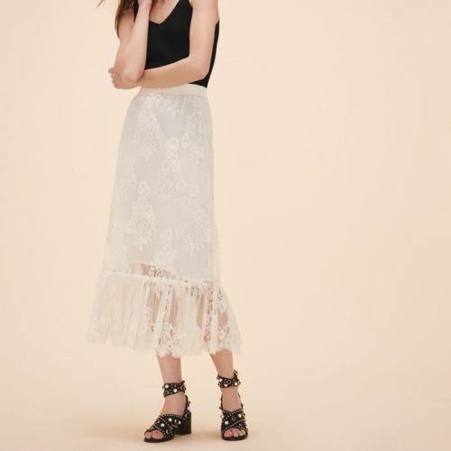 Maje - jupe dentelle longue blanche