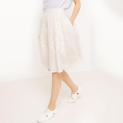 La Redoute - Jupe dentelle midi blanche