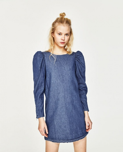 Zara - Robe denim manche bouffante