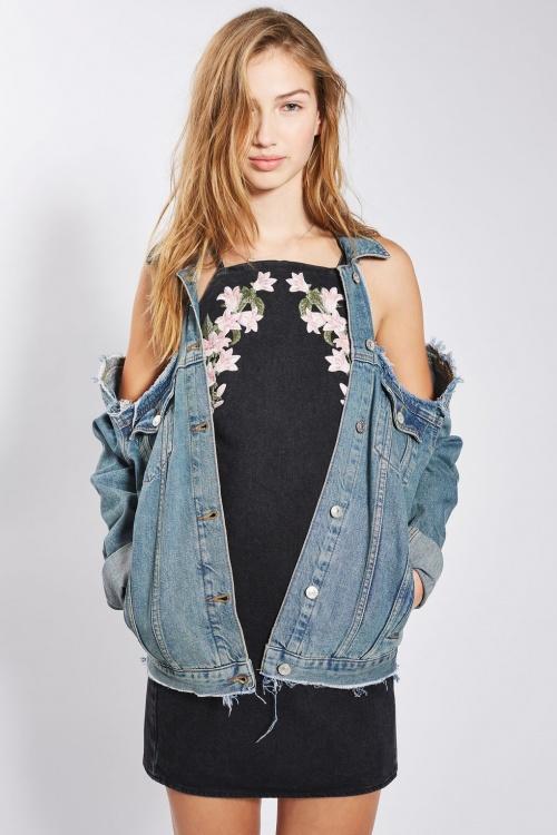 Topshop - Veste jean découpes épaules